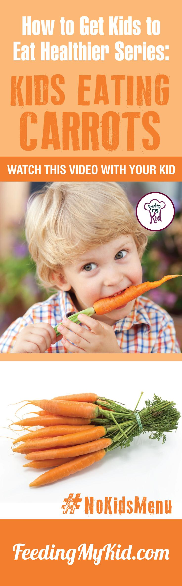 Want your kids to eat carrots? Teach your kids how to eat more vegetables and fruits. Watch these videos with your kids of kids eating veggies and fruits and get your kids to eat veggies and fruits. Find out how it works here. Feeding My Kid is a filled with all the information you need about how to raise your kids, from healthy tips to nutritious recipes. #pickyeating #getkidstoeat #carrots #nokidsmenu
