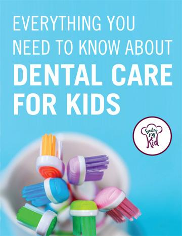 This is a must pin! Check out this article about everything you need to know about dental care for kids. This kids dental care article will help you know just when to brush your kid's teeth. Feeding My Kid is a website for parents, filled with all the information you need about how to raise your kids, from healthy tips to nutritious recipes. #dental #toothbrush #tips