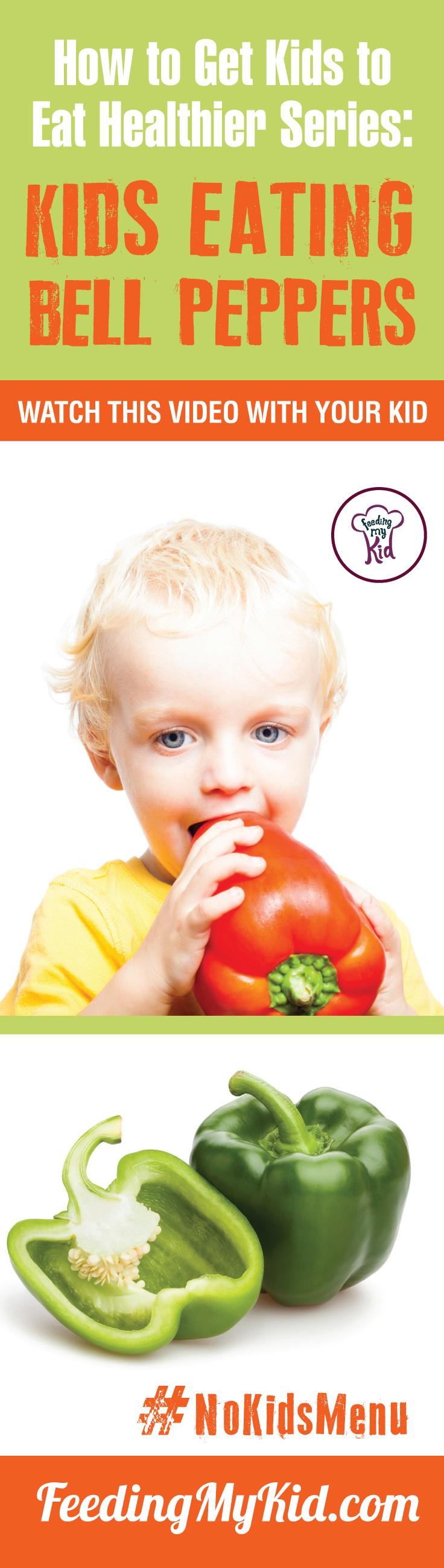 Want your kids to eat Bell Peppers? Teach your kids how to eat more vegetables and fruits. Watch these videos with your kids of kids eating veggies and fruits and get your kids to eat veggies and fruits. Find out how it works here. Feeding My Kid is a filled with all the information you need about how to raise your kids, from healthy tips to nutritious recipes. #pickyeating #getkidstoeat #BellPeppers #nokidsmenu