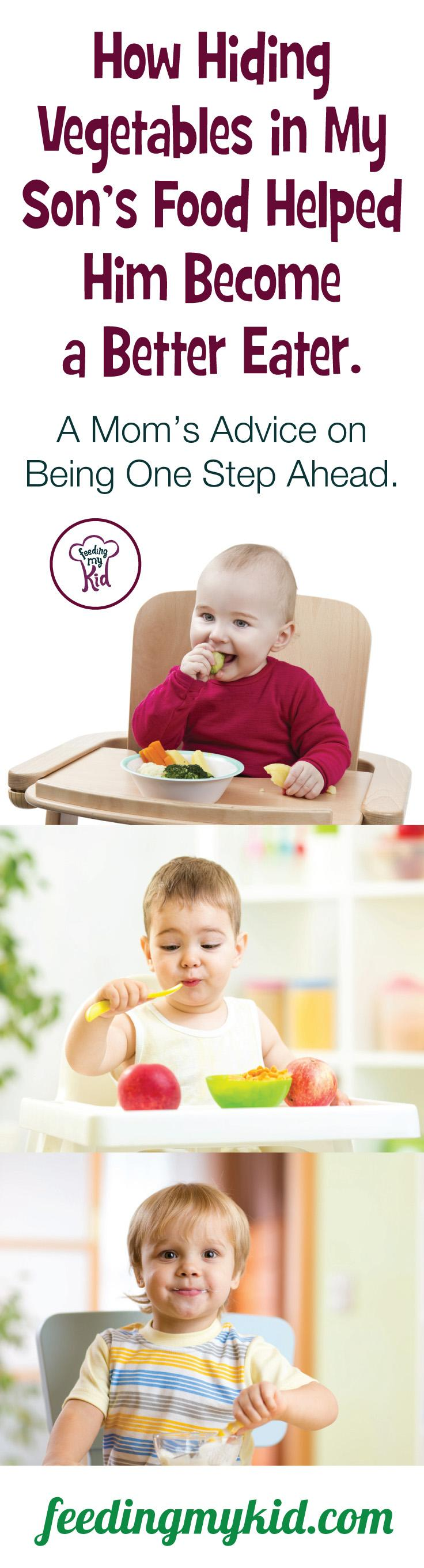 This is a must pin! Is your toddler not eating his veggies? Learn how to get kids to eat vegetables by hiding them in plain sight! Stop picky eating in its tracks! Feeding My Kid is a website for parents, filled with all the information you need about how to raise your kids, from healthy tips to nutritious recipes. #parenting #hidingveggies #getingkidstoeatveggies