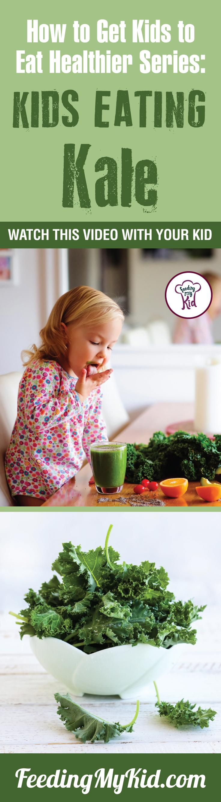 This is a must pin! Want your kids to eat kale? Teach your kids how to eat more vegetables and fruits. Watch these videos with your kids of kids eating veggies and fruits and get your kids to eat veggies and fruits. Find out how it works here. Feeding My Kid is a filled with all the information you need about how to raise your kids, from healthy tips to nutritious recipes. #pickyeating #getkidstoeat #kale