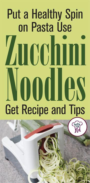 Find out how you can put a spin on zucchini with a vegetable spiralizer to get kids having fun and eating! Plus a great zoodle recipe! #recipes #zucchini #noodles #zoodles #dabblingchef