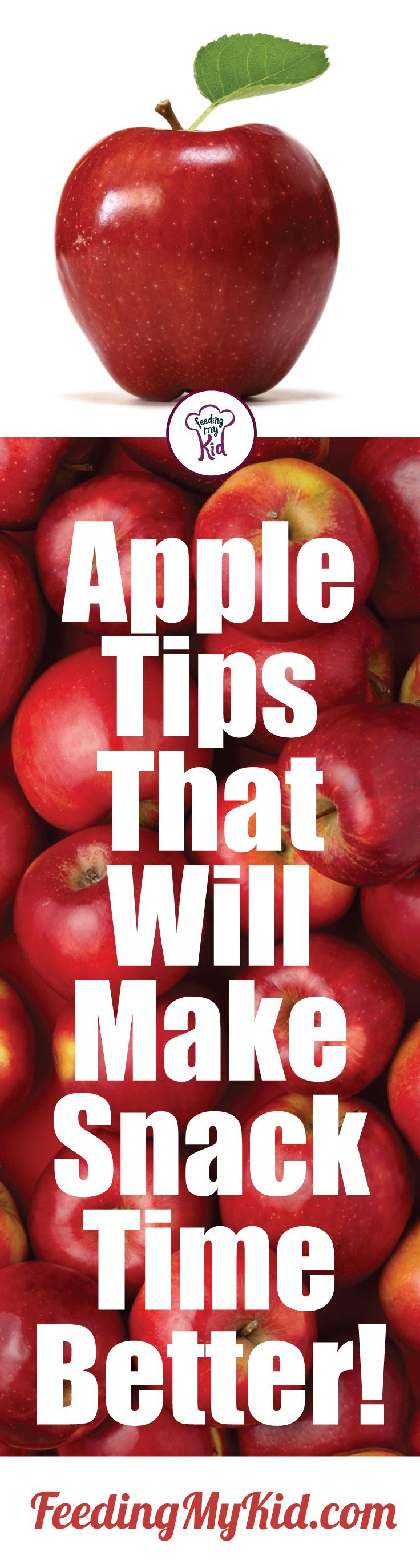 Check out these awesome apple tips that'll help you make the apple an amazing snack! Feeding My Kid is a filled with all the information you need about how to raise your kids, from healthy tips to nutritious recipes. #FeedingMyKid #appletips #snacking #snacks