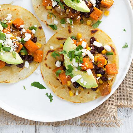 Honey Lime Sweet Potato, Black Bean and Corn Tacos Recipe