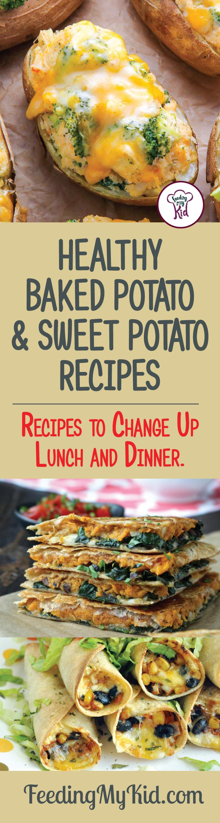 Try these great baked potato and sweet potato recipes that will make the perfect side dish for just about any and every meal! Feeding My Kid is a filled with all the information you need about how to raise your kids, from healthy tips to nutritious recipes. #FeedingMyKid #potatorecipes