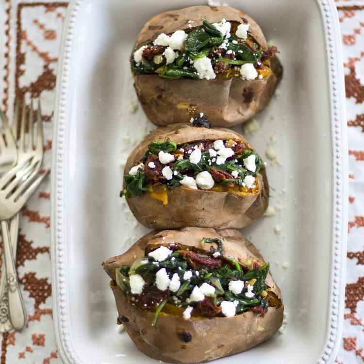 Spinach, Sun Dried Tomato, and Goat Cheese Stuffed Sweet Potatoes Recipe