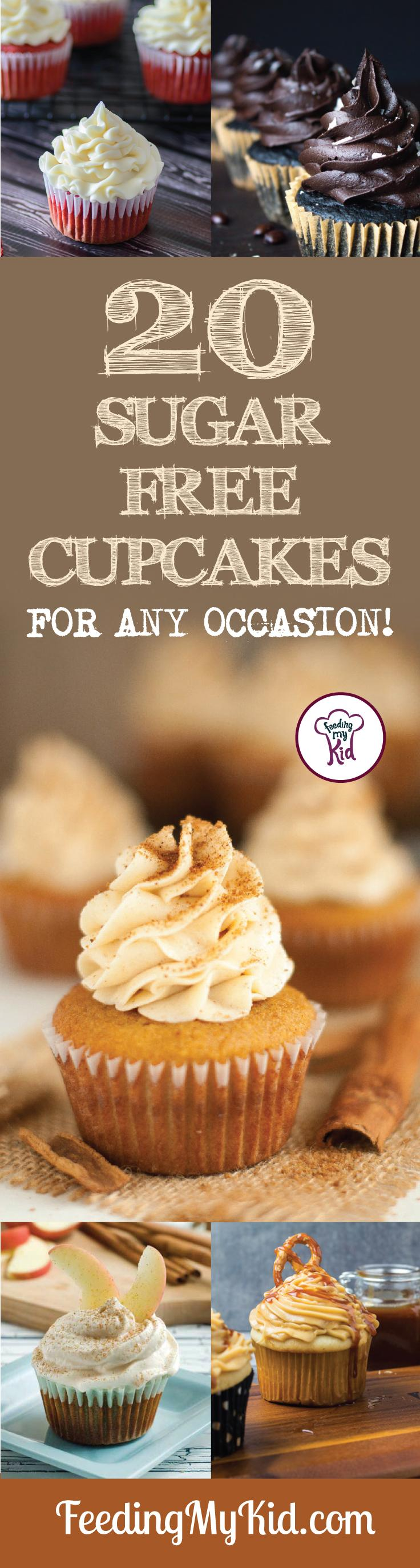 Try these amazing sugar free cupcakes! They're perfect for any and all occasions! Feeding My Kid is a filled with all the information you need about how to raise your kids, from healthy tips to nutritious recipes. #FeedingMyKid #desserts #sugarfree #cupcakerecipes