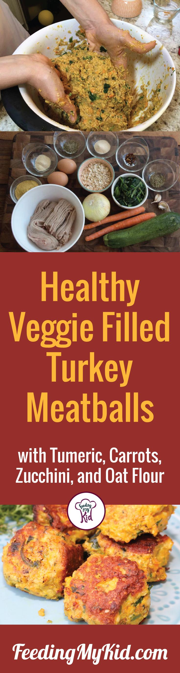 This is an amazing veggie filled turkey meatball recipe. It is so incredibly delicious, the whole family will love this recipes. Feeding My Kid is a filled with all the information you need about how to raise your kids, from healthy tips to nutritious recipes. #FeedingMyKid #turkeymeatballrecipes #recipes #dinner #meatballrecipe