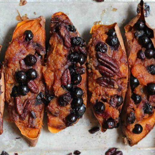Twice Baked Sweet Potatoes With Blueberries And Pecans Recipe