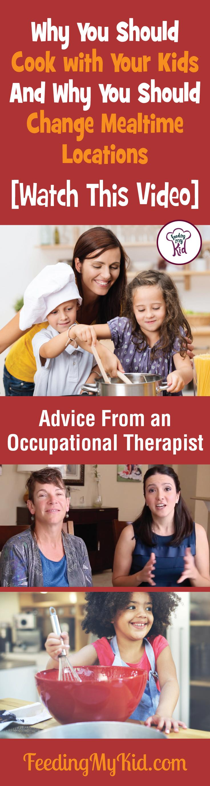 This is a must pin! Find out why you should be cooking with kids. Advice from an occupational therapist. Feeding My Kid is a filled with all the information you need about how to raise your kids, from healthy tips to nutritious recipes. #FeedingMyKid #OccupationalTherapist #advice #kidshealth #cookingwithkids