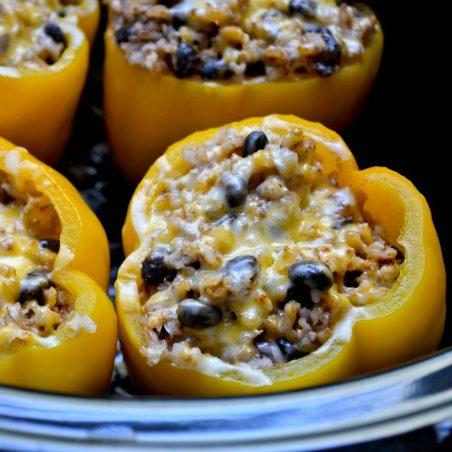 Vegetarian Crockpot Stuffed Peppers