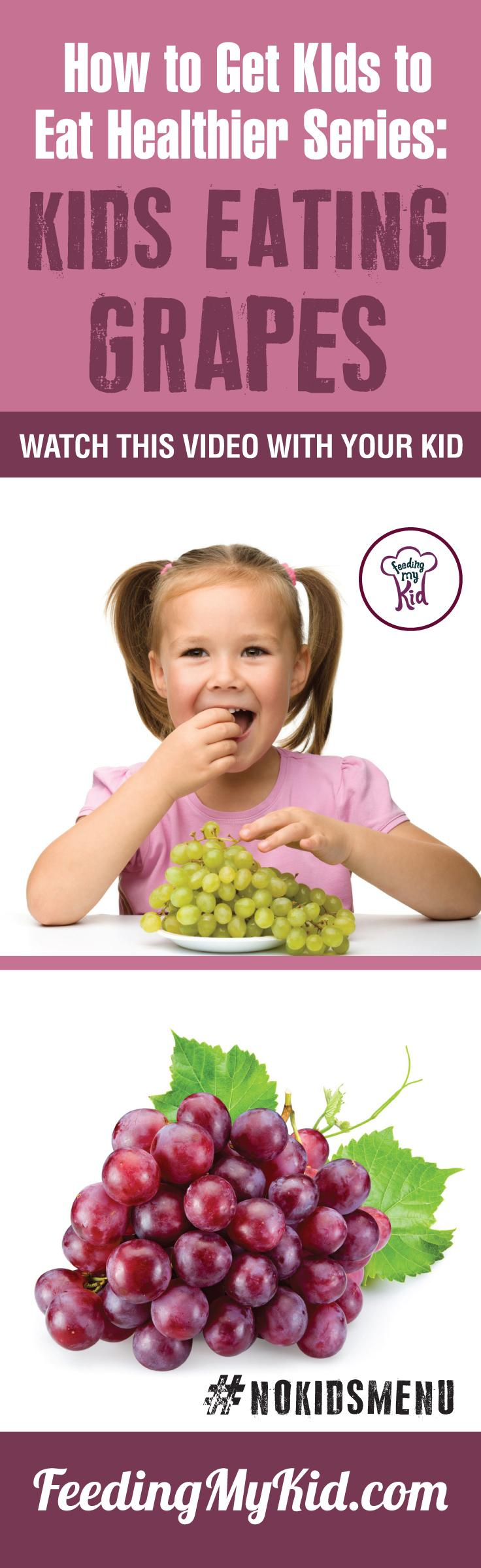 Want to get your children eating grapes? Teach your kids how to eat more vegetables and fruits. Watch these videos with your kids of children eating veggies and fruits and get your kids to eat veggies and fruits. Find out how it works here. Feeding My Kid is a filled with all the information you need about how to raise your kids, from healthy tips to nutritious recipes. #pickyeating #getkidstoeat #grapes #NoKidsMenu