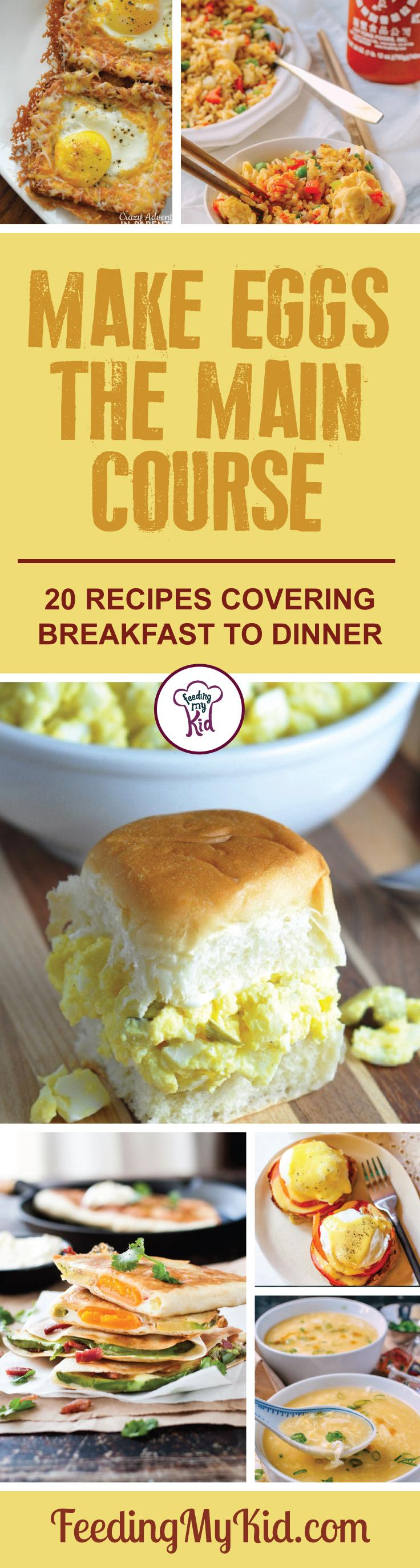 Give these great egg recipes for breakfast, lunch and dinner a try! These egg courses make the perfect meal for any time and any occasion! Feeding My Kid is a filled with all the information you need about how to raise your kids, from healthy tips to nutritious recipes. #FeedingMyKid #eggs #eggrecipes #recipes