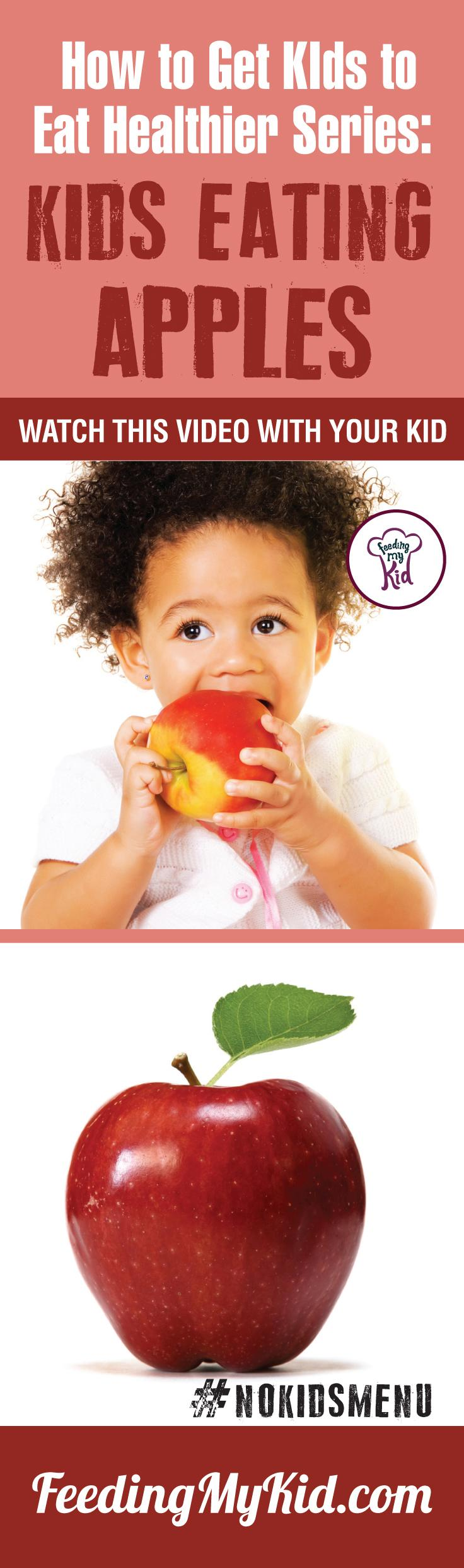 Want to get your kids eating apples? Teach your kids how to eat more vegetables and fruits. Watch these videos with your kids of children eating veggies and fruits and get your kids to eat veggies and fruits. Find out how it works here. Fruits for kids! Feeding My Kid is a filled with all the information you need about how to raise your kids, from healthy tips to nutritious recipes. #pickyeating #getkidstoeat #apples #FruitsForKids #NoKidsMenu