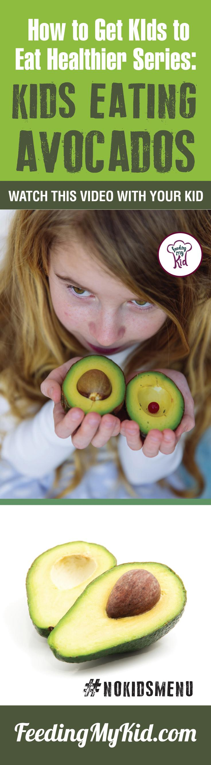 Want your kids to eat avocados? Learn how to get kids to eat vegetables by having them watch these videos of children eating veggies. Find out how it works here. Feeding My Kid is a filled with all the information you need about how to raise your kids, from healthy tips to nutritious recipes. #pickyeating #getkidstoeat #Avocados #NoKidsMenu