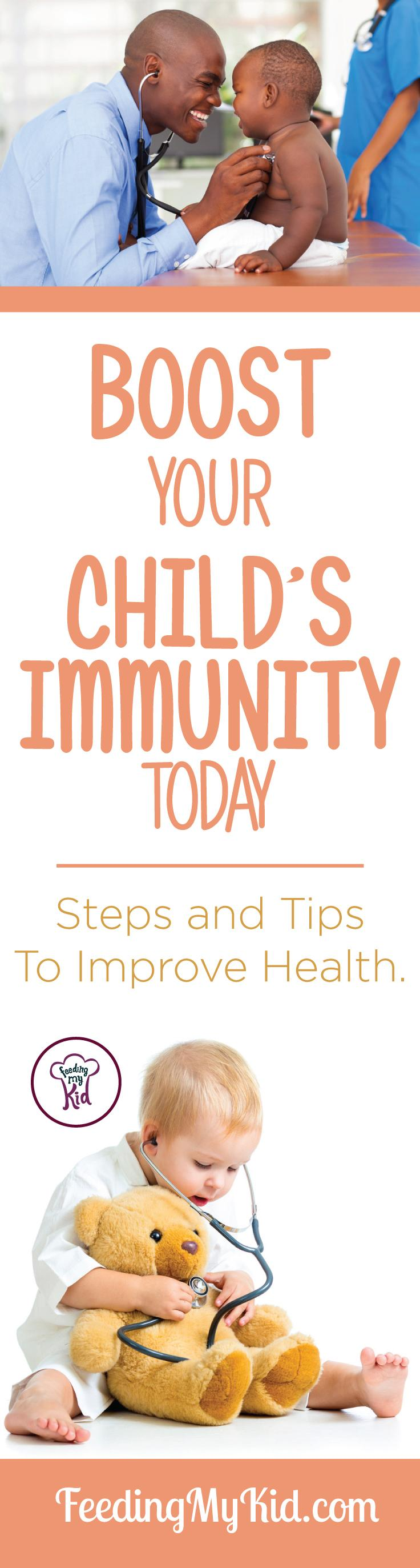 This is a must pin! Learn everything you need to know to improve your child's immune system today! Feeding My Kid is a filled with all the information you need about how to raise your kids, from healthy tips to nutritious recipes. #FeedingMyKid #kidshealth #howtoincreaseimmunity #tips