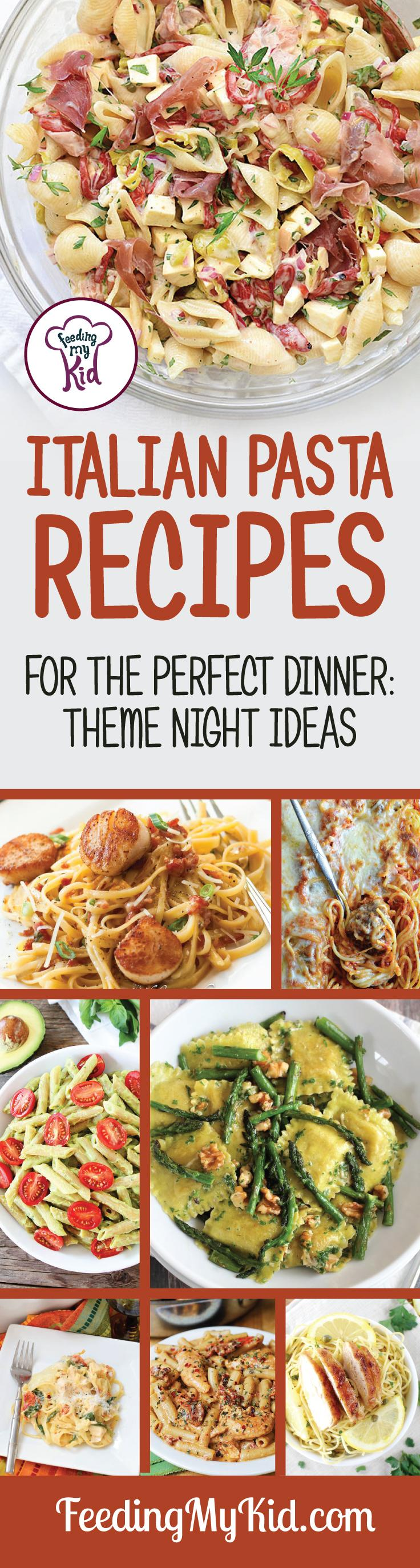 These Italian pasta recipes will make the perfect lunch or the perfect dinner. These pasta recipes are sure to please the whole family! Give them try! Feeding My Kid is a filled with all the information you need about how to raise your kids, from healthy tips to nutritious recipes. #FeedingMyKid #italianrecipes #italianfood #italianpastas