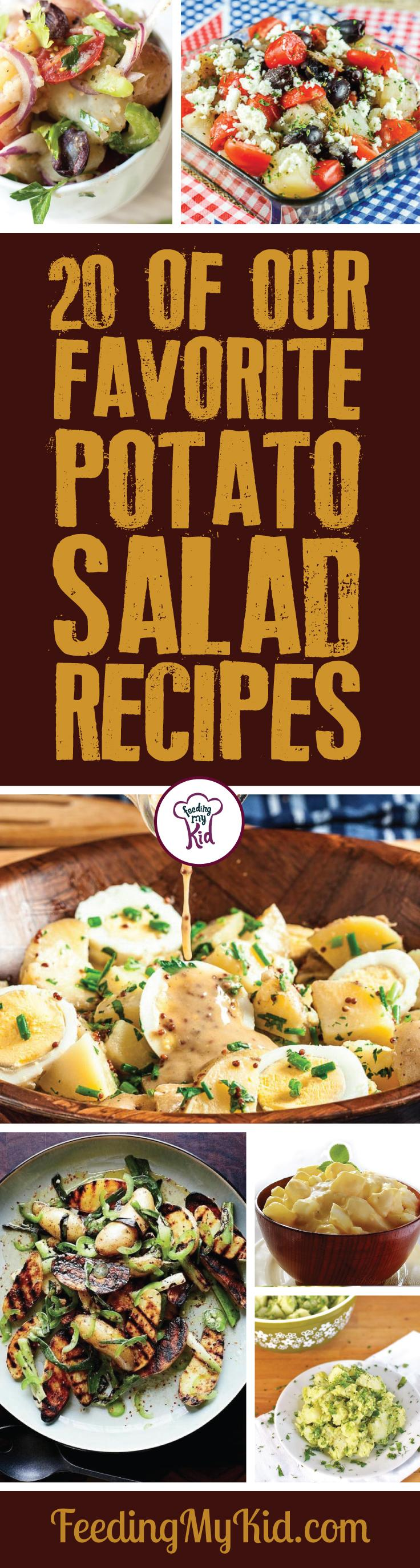 Try these amazing potato salad recipes! They're perfect for any meal and any event! These amazing side dishes will make you want more! Feeding My Kid is a filled with all the information you need about how to raise your kids, from healthy tips to nutritious recipes. #FeedingMyKid #recipes #sidedishes #potatorecipes