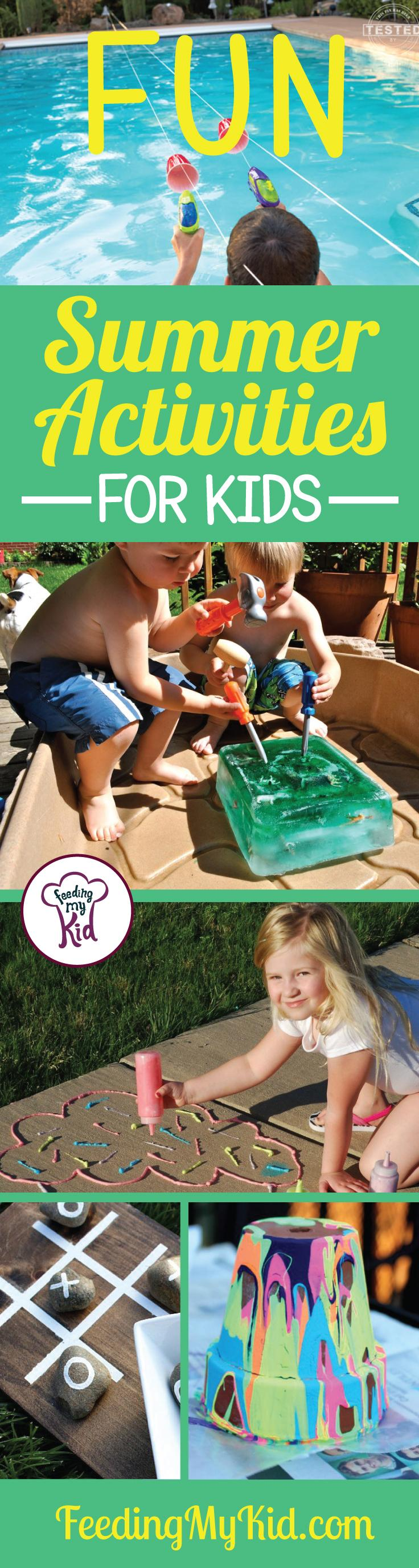 Check out these fun summer activities for kids! They'll make the summer that much more fun! Feeding My Kid is a filled with all the information you need about how to raise your kids, from healthy tips to nutritious recipes.#FeedingMyKid #funactivitiesforkids #summerfun