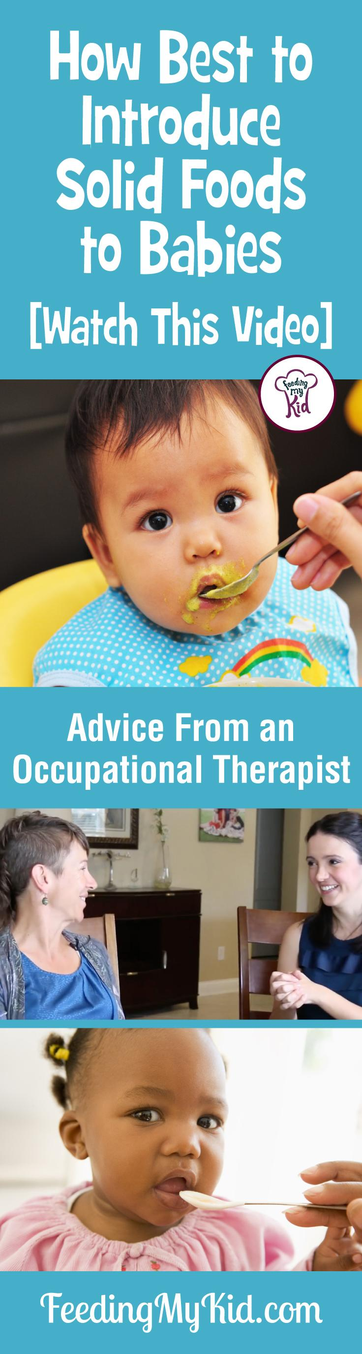 Find out when to introduce solids to your baby. Advice from an occupational therapist. Feeding My Kid is a filled with all the information you need about how to raise your kids, from healthy tips to nutritious recipes. #FeedingMyKid #OccupationalTherapist #advice #kidshealth #introducesolidstoyourbaby