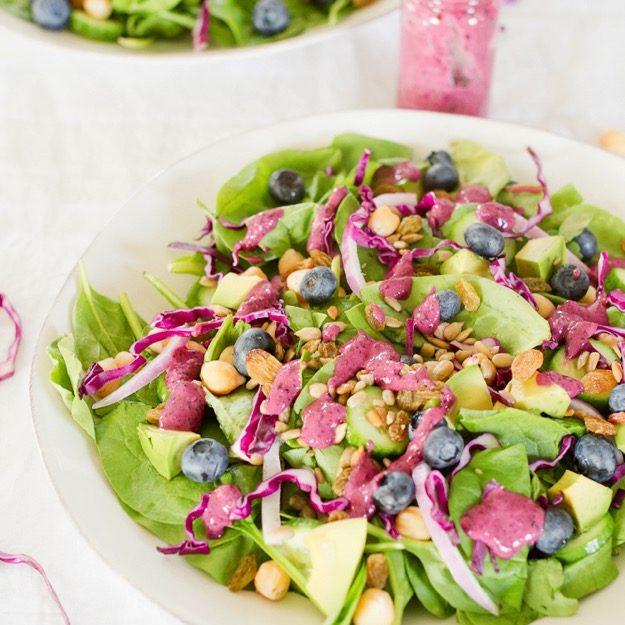 Antioxidant Salad with Blueberry Tahini Dressing Recipe
