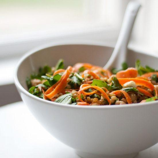 Arugula, Carrot And Chickpea Salad With Wheat Berries Recipe