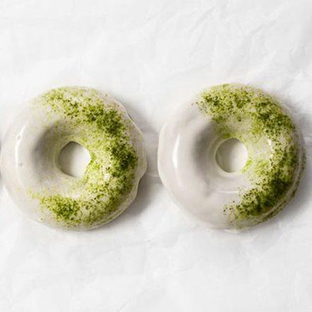 Baked matcha donuts with white chocolate glaze Recipe