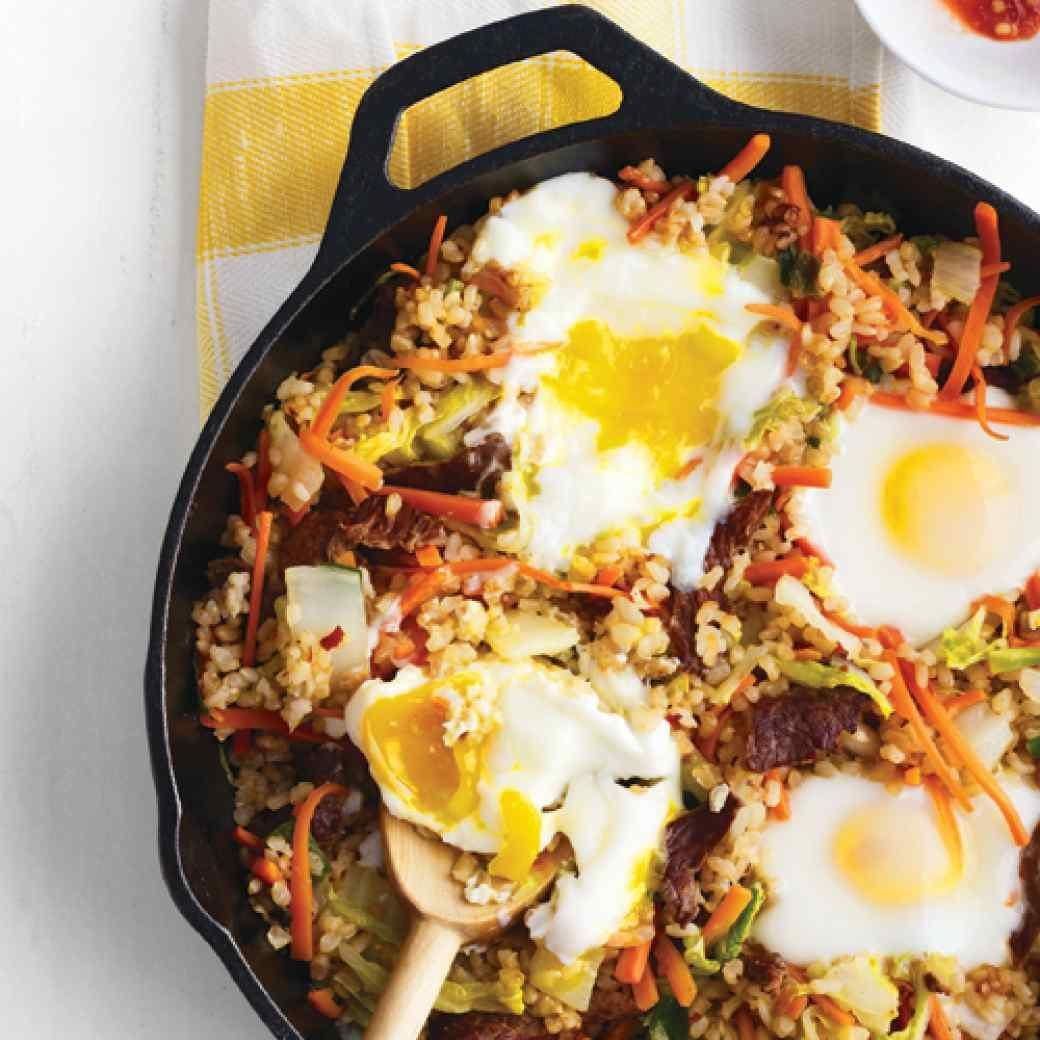 Crisped Brown Rice with Beef Vegetables And Eggs Recipe