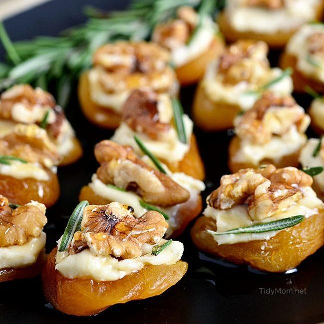 Dried Apricot And Blue Cheese Canapes With Walnuts