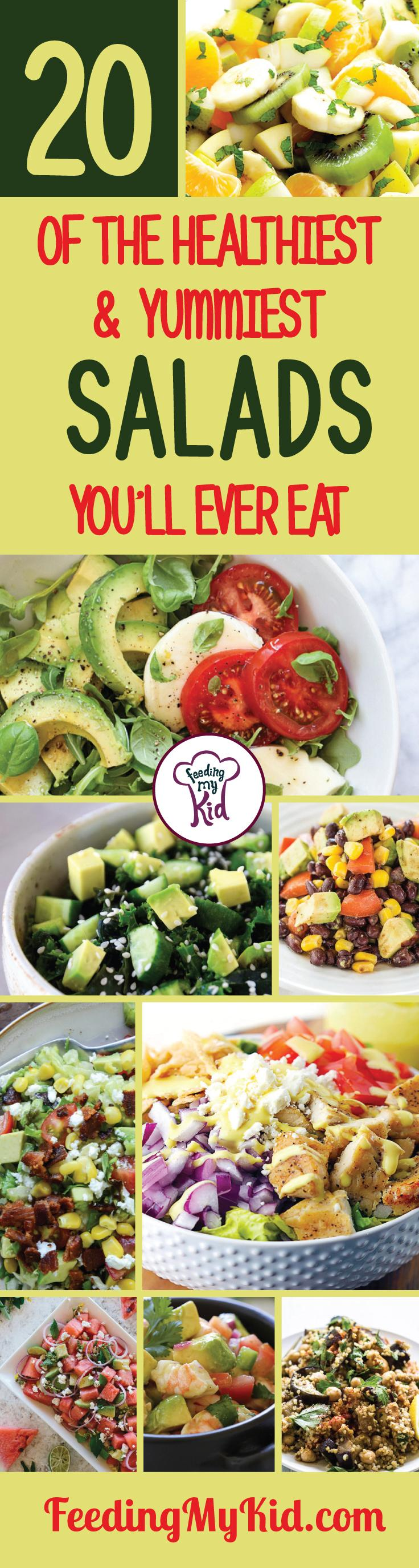 Try some of these amazing easy salad recipes to make right at home! They're perfectly delicious. Feeding My Kid is filled with all the information you need about how to raise your kids, from healthy tips to nutritious recipes. #FeedingMyKid #easysalad #saladrecipes #recipes #dinner