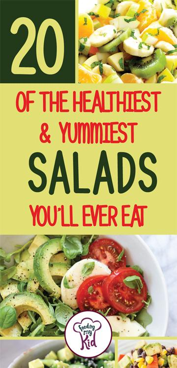 Try some of these amazing easy salad recipes to make right at home! They're perfectly delicious. #FeedingMyKid #easysalad #saladrecipes #recipes #dinner