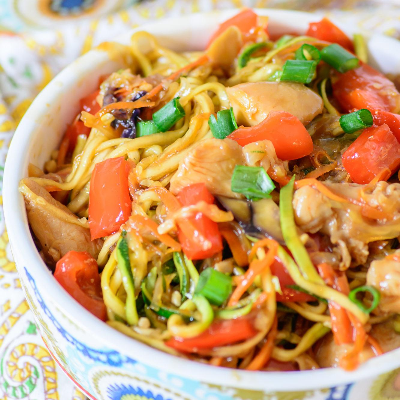 Honey Sriracha Chicken Zoodle Bowls Recipe