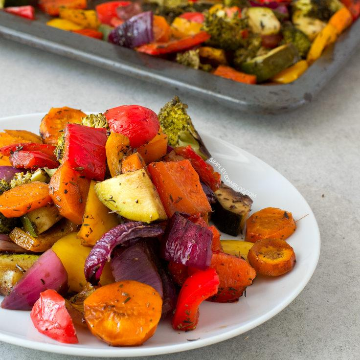Oil Free Rainbow Roasted Vegetables Recipe