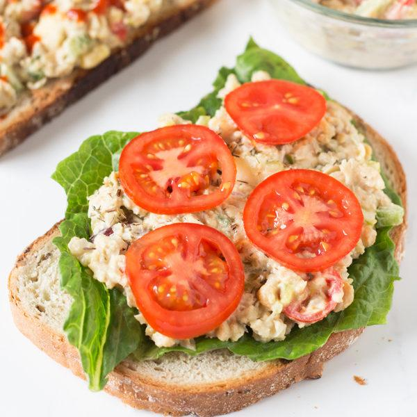 Open-Faced Vegan Chickpea Salad Sandwiches Recipe