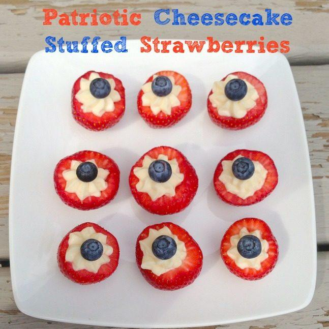 Patriotic Cheesecake Stuffed Strawberries Recipe