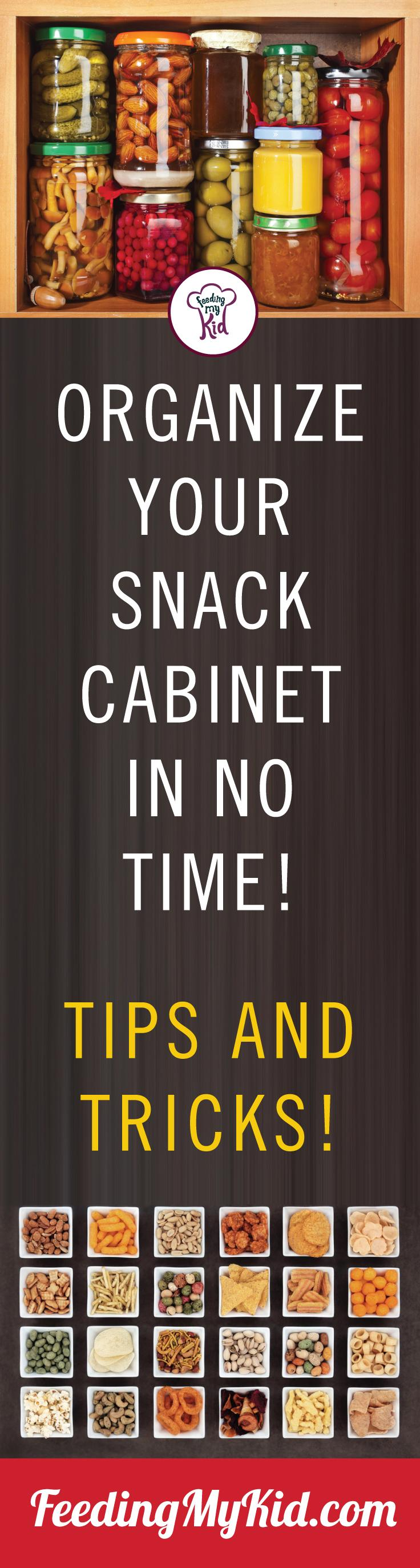 Ever have trouble trying to find a snack in the pantry? Organize your snack cabinet today! Check out these great pantry organization ideas! Feeding My Kid is a filled with all the information you need about how to raise your kids, from healthy tips to nutritious recipes. #FeedingMyKid #pantry #snack #kitchenorganization