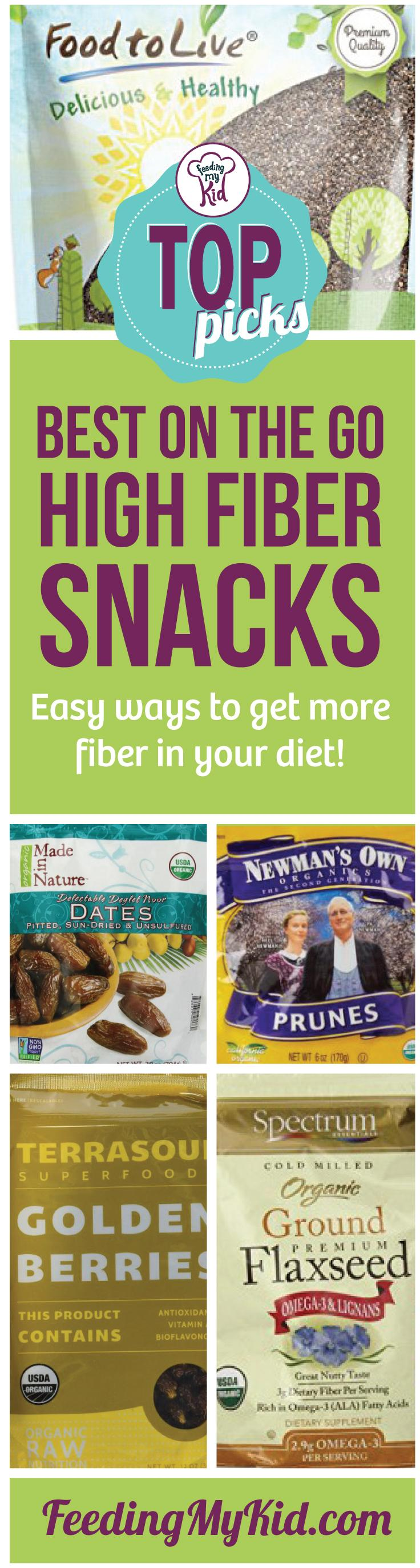 These are our top picks for high fiber snacks on the go! We curated a number of high fiber snack foods and high fiber add-ins. Feeding My Kid is filled with all the information you need about how to raise your kids, from healthy tips to nutritious recipes. #FeedingMyKid #toppicks #fiber #constipation #jighfiber #fiberfoods #snacks #fibersnacks