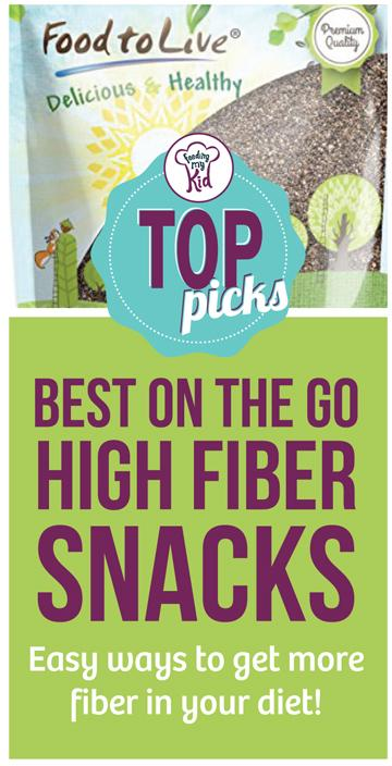 These are our top picks for high fiber snacks on the go! We curated a number of high fiber snack foods and high fiber add-ins. #FeedingMyKid #toppicks #fiber #constipation #jighfiber #fiberfoods #snacks #fibersnacks