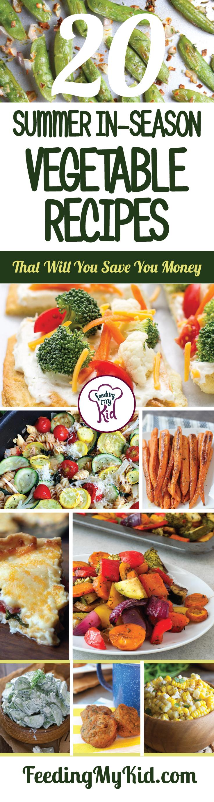 Try these amazing summer vegetable recipes that use some of the ripest in-season veggies. Feeding My Kid is filled with all the information you need about how to raise your kids, from healthy tips to nutritious recipes. #FeedingMyKid #summerrecipes #veggies #lunch #dinner #recipes
