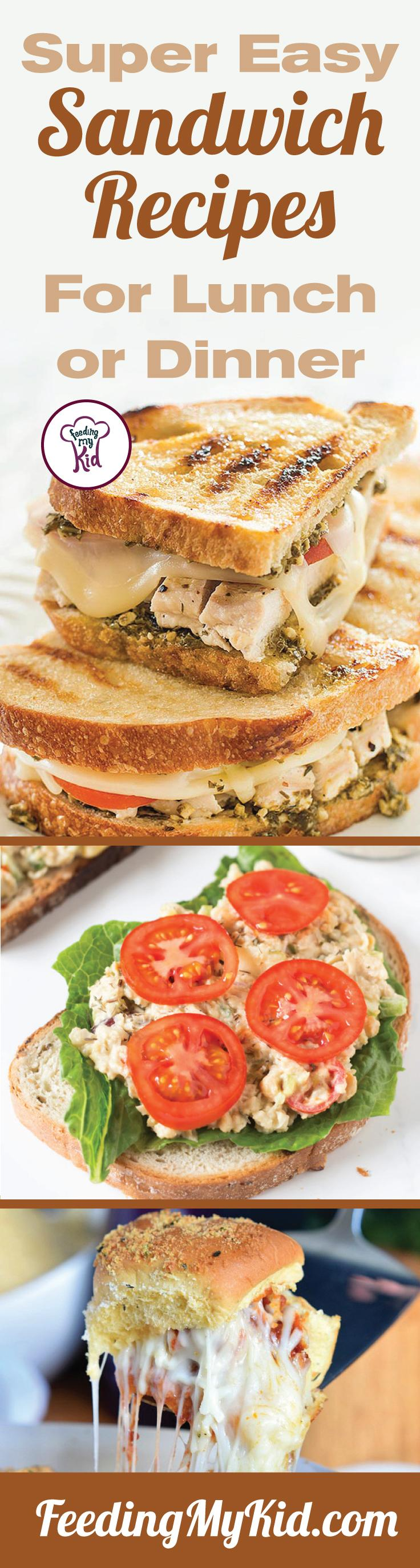 Try these great tasting easy sandwich recipes! They're perfect for any occasion. Feeding My Kid is filled with all the information you need about how to raise your kids, from healthy tips to nutritious recipes. #FeedingMyKid #sandwichrecipes #lunch #recipes