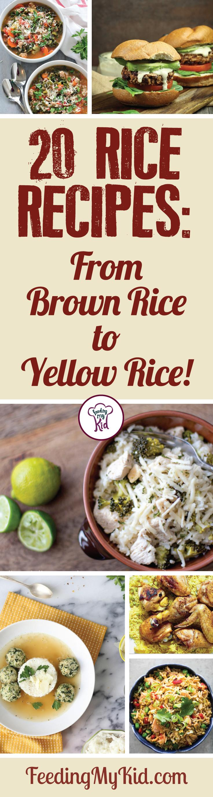 Try these amazing rice recipes! These recipes make the perfect meal or side dish for lunch or dinner! Feeding My Kid is a filled with all the information you need about how to raise your kids, from healthy tips to nutritious recipes. #FeedingMyKid #ricerecipes #recipes #dinner #sidedish