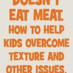 My Child Doesn't Eat Meat. How to help kids overcome texture.