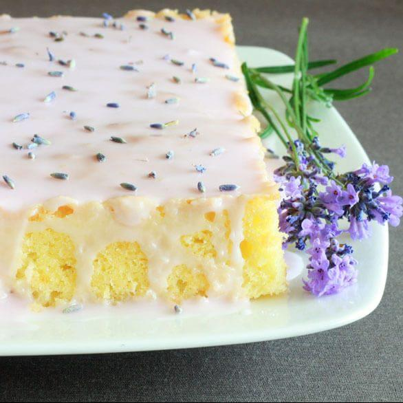 French Almond Cake With Lavender Lemon Glaze