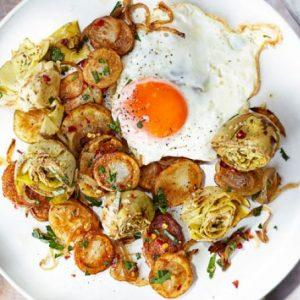 sauteed-artichokes-potatoes-and-egg
