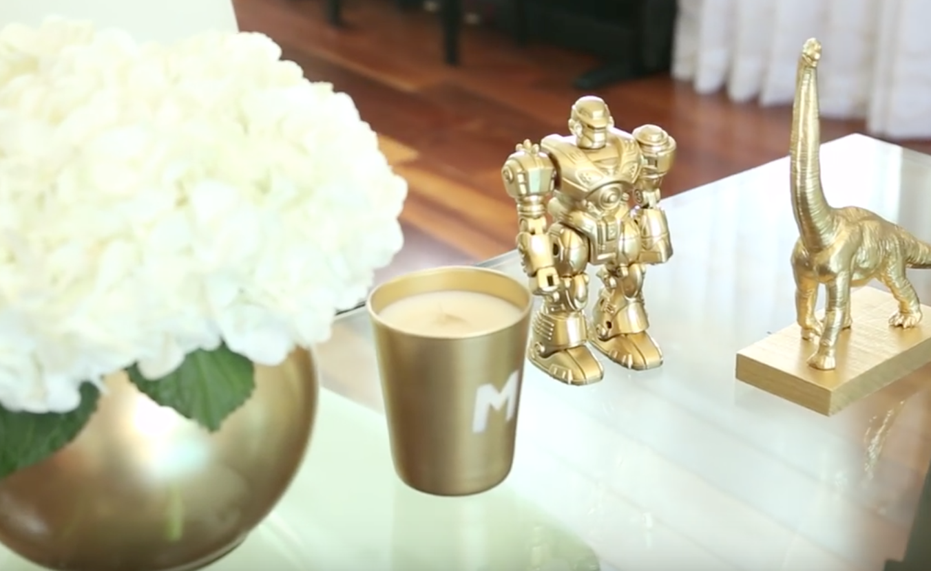 Watch this video. DYI Gold Paint Fun