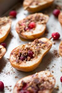 Baked Pears with Honey Cranberries