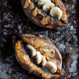 Breakfast Baked Sweet Potatoes With Almond Butter, Banana And Chia