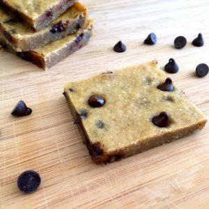 These chocolate chip cookie dough bars are gluten-free and low-fat with a healthy dose of fiber and protein, making them the perfect guilt-free dessert.