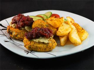 Falafel Burgers With Balsamic Red-Onion Marmalade Minted Hummus And Sweet Potato Wedges