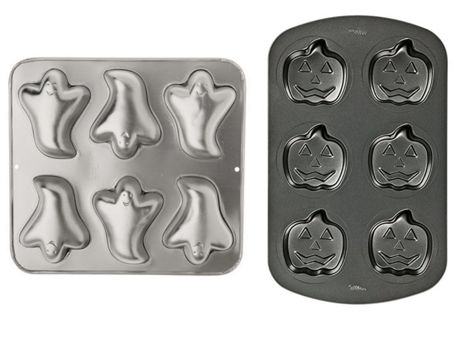 Wilton Mini Ghost Pan (left) Wilton Nonstick Jack O Lantern Mini Cake Pan (right_